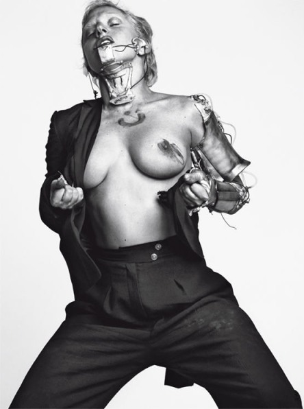 Lady Gaga topless by Inez & Vinoodh for L'Uomo Vogue