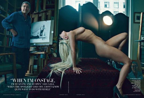 Lady Gaga nude with Tony Bennett by Annie Leibovitz for Vanity Fair