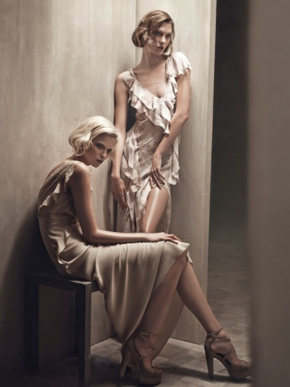 Karlie Kloss and Abbey Lee Kershaw by Patrick Demarchelier for Donna Karan